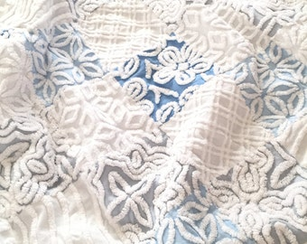 "SAMPLE ~ Vintage Chenille Baby Quilt ~ 42"" x 42"" Blues, Gray, White with Minky Backing ~ Made to Order"