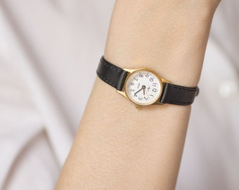 Women's quartz watch Ray USSR time, classy woman watch gold plated, minimalist tiny watch her, simple girl watch, premium leather strap new