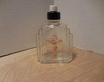 Vintage Raised Crucifix Holy Water Bottle 1940's