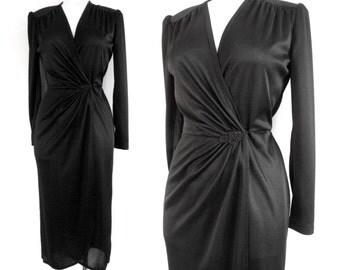 70s Black Wrap Dress Beading Detail - S