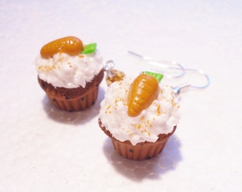 Carrot Cupcake Earrings. Polymer Clay.