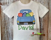 Easter Egg Truck Short Sleeve Top with Monogram Sizes 12M-18M, 2T-5T, 6