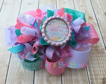 Happy Easter Bunny Funky Loopy Bow with Bottle Cap Embellishment- Pink, Aqua and White Pastel