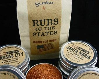 Gusto's Original RUBS of the STATES - Barbecue Rub Gift Set -  BBQ and Smoking Spices