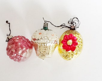 3 VINTAGE ORNAMENTS. Christmas, Soviet Ornaments, Home Decor, Retro Christmas, Home Decor, Glass Ornaments