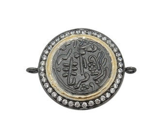 Stamped Coin Double Bail Pendant with Intricate Designs - Round Black Toned Brass with CZ Pave Charm Pendant  BIC  (S68B13-02)