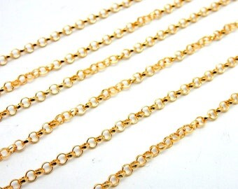 Gold Fill Rolo Chain Necklace 2.3mm-- ONE FOOT (M977)