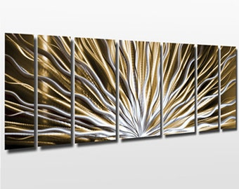 "Metal Wall Art Sculpture Large Contemporary Metal Art Panels Gold Artwork ""Vibration"" by Brian M Jones Neutral Modern Painting Decor"