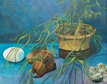 Still Life Original Acrylic Painting -In between Dreams- Plant, Fern, Egg, weeping Buddha, rock painting