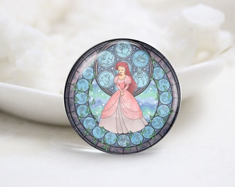 Handmade Round Photo Glass Cabochons (P3525)