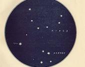 Vintage 1920 Edwardian VIRGO Map 18 Stars astronomy print star chart zodiac constellations Celestial Maps