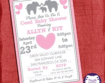 Elephant Baby Shower Girl Invitation Theme Coed Couples Baby Shower Invitation -  Baby Girl or Baby Boy shower - I design you print