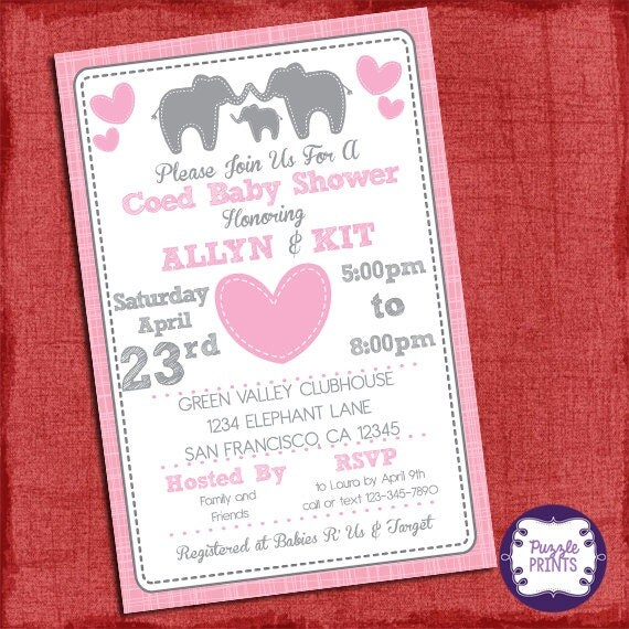 Elephant Baby Shower Girl Invitation Theme Coed Couples Baby Shower Invitation
