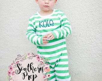 GREEN Long Sleeve Monogrammed Romper - Boy's pajamas - Boy's Holiday outfit - Long Sleeved romper