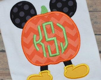 Mickey Pumpkin Shirt - Disney Vacation Shirt - Thanksgiving Themed birthday party shirt - Custom Pumpkin Monogram shirt