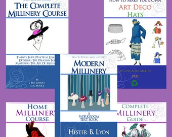 New Collection of 5 x RARE MILLINERY Hat Making Books ~ Lessons Patterns and Designs to print out and use Instant Download
