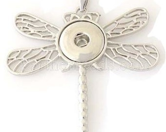 ArtPoppers Dragonfly Pendant - Compatible with GingerSnaps - DIY Snaps - Noosa Snap Jewelry 18mm Snaps