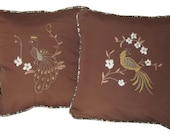 Hand-Embroidered Peacock Pillow Set