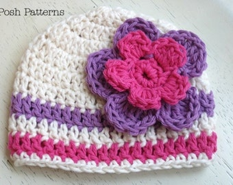 Crochet Pattern - Crochet Hat Patterns - Crochet Pattern Hat - Crochet Beanie Pattern - Includes Baby, Toddler, Child, Adult Sizes - PDF 115
