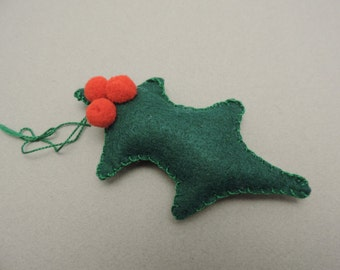 Felt Christmas Tree Ornament, Kelly Green Holly Leaf and 3 Red pom pom Berries