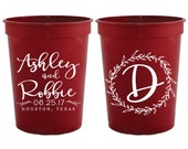 Wedding Cups, Custom Wedding Cups, Anniversary Party Cups, Wedding Favors, Monogrammed Cups, Plastic Wedding Cups, Party Cups, 1506