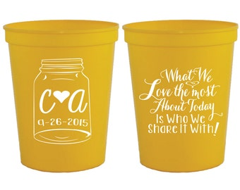 Personalized Wedding Cups, Mason Jar Wedding Favor, Country Wedding Favors, What We Love Most Wedding Favors, Shower Favor, Party Cups, 1242