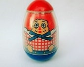 Vintage Raggedy Andy Weeble Wooble 1970s toy by Bobbs Merrill Co., Rare Vintage Toy