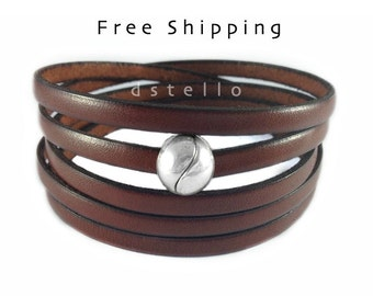 Leather bracelet, Leather jewelry, Multistrand bracelet, Quintuple, Five times, Men's bracelet, Women's bracelet, Custom made, Unisex gift