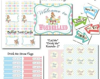 Alice in Wonderland Printable Party Alice in Wonderland Party One-derland Birthday-DIY- Mad Tea Party