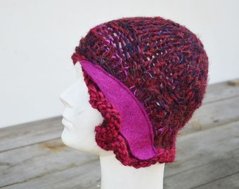 boho hat, retro winter knit hat, fuchsia purple, magenta laca cloche, soft wool, art to wear, crazy hat, artsy unique woman