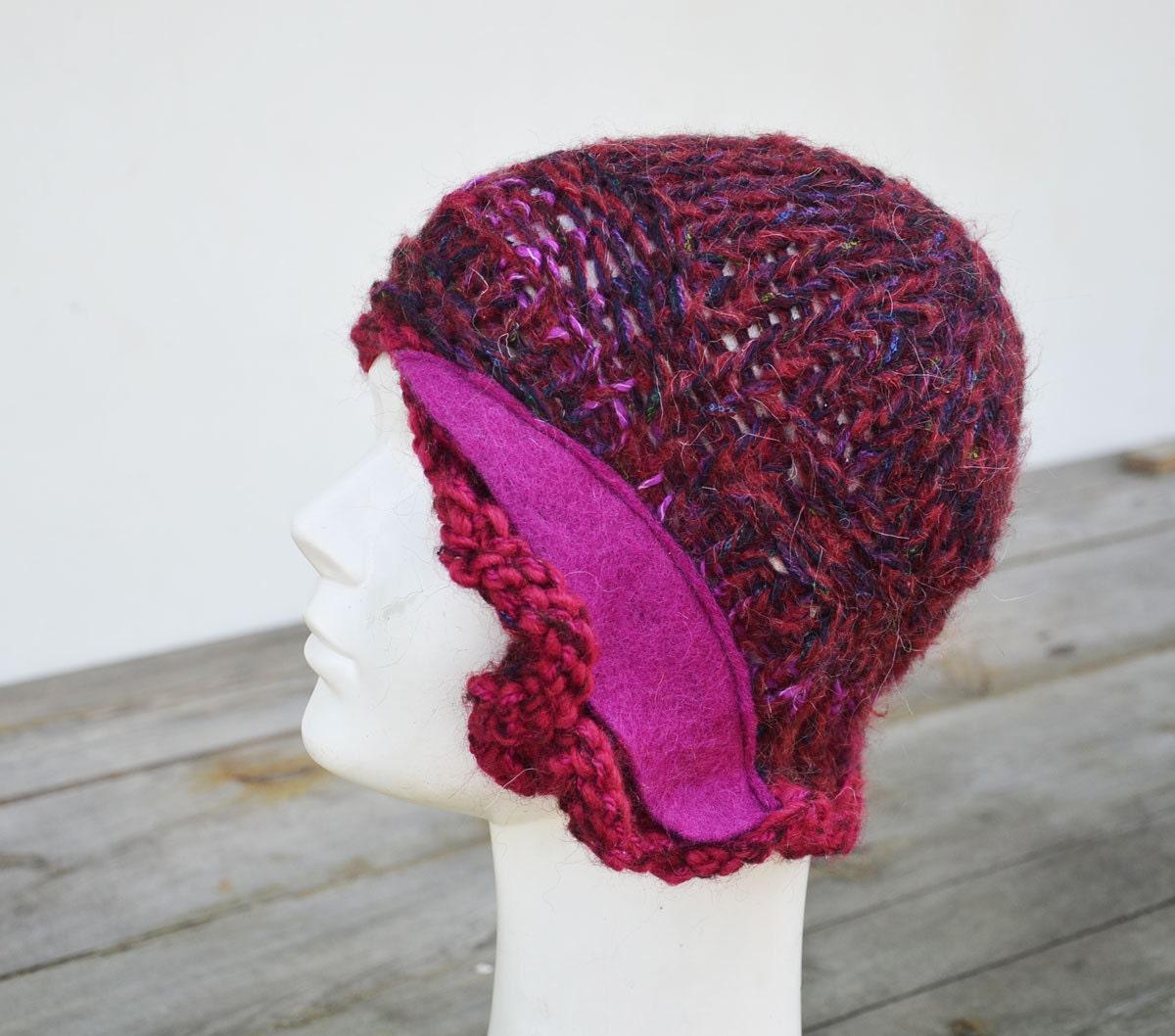 boho hat retro winter knit hat fuchsia purple magenta laca. Black Bedroom Furniture Sets. Home Design Ideas