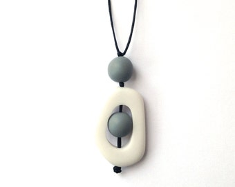 Nursing Jewelry - Twiddle Buster Breastfeeding Necklace - White, Grey, Gray, Dove Grey