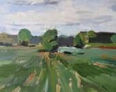 Illinois field, landscape oil painting, impressionistic landscape painting, original oil painting on canvas, Illinois open fields, plein air