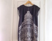 Mini dress. Genova. Made in Italy. Wearable art. Short sleeve, 100% cotton, gift for her, for all seasons