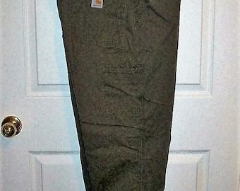 Vintage Men's Khaki Green Carpenter Painters Pants by Carhartt Size 42 x 30 Only 8 USD