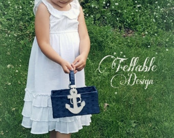 Nautical Anchor Wedding Flower Girl Basket Navy wedding