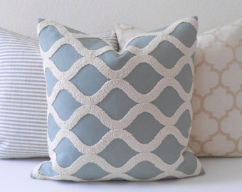 Light aqua blue and cream embroidered tufted trellis decorative pillow cover