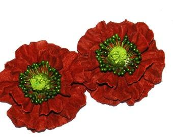 Leather flower shoe clips - poppy! Leather Shoe Clips, poppy shoe clips -red!