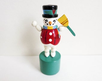 Vintage Miniature Wood Snowman Toy - with Broom - Push Puppet or Thumb Puppet - Folk Art Style - Christmas Decoration - Stocking Stuffer