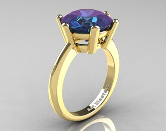 Classic Russian Bridal 14K Yellow Gold 5.0 Carat Alexandrite Crown Solitaire Ring RR133-14KYGAL