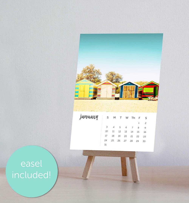 2017 Calendar Desk Calendar Beach Decor Calendar With Easel