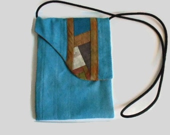 Small Cross Body Handbag Hand Dyed Raw Silk and Cotton Teal Brown
