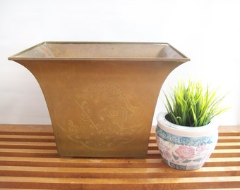 Large Brass Planter, Vintage, Rectangular with Flared Rim, Chinoiserie Etchings, Hollywood Regency