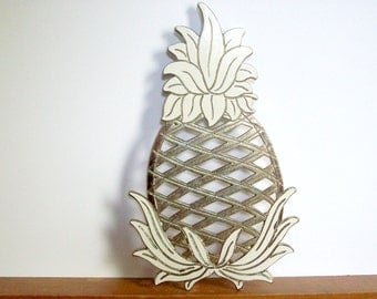 Vintage Brass Pineapple Trivet, Gold Toned with Ivory Enamel Accents, WM A Rogers, Hollywood Regency Decor