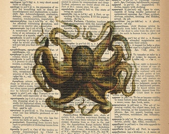 Dictionary Art Print - Octopus King of the Sea - Ocean / Nature Decor - Upcycled Vintage Dictionary Page Poster Print - Size 8x10