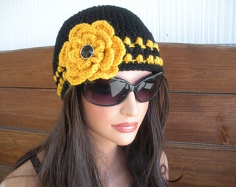 Womens Hat Crochet Hat Winter Fashion Accessories Womens Beanie Hat in Black with Gold Stripes and Crochet Flower