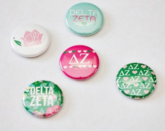 "Delta Zeta 1"" Buttons, Sorority Buttons"