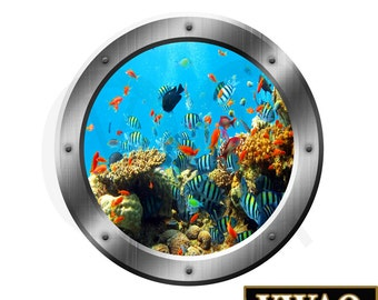 Underwater Fish Coral Reef 3D Porthole Side Vinyl Decal Family Wall Art 3D Window Silver Portal Art Home Decor SP19