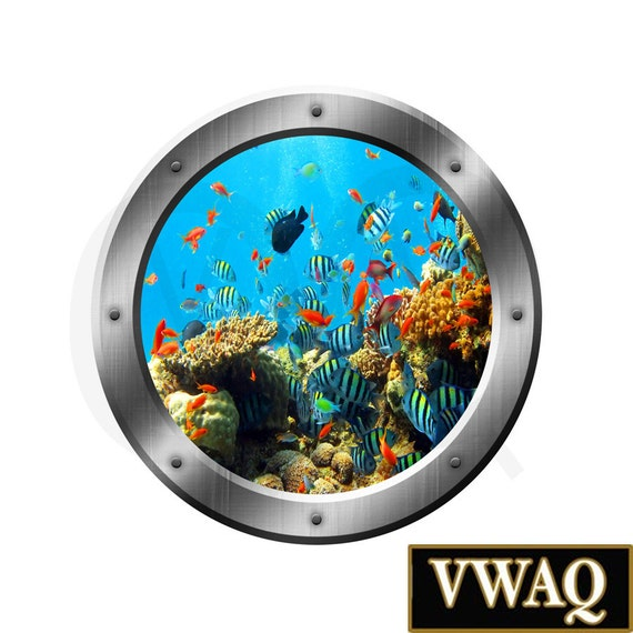 Underwater Fish Coral Reef 3D Porthole Side Vinyl Decal Family