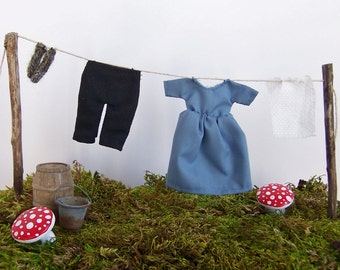Dollhouse Fairy Garden Miniature Clothesline - Laundry Day Featuring Homespun Look Three-Dimensional Hand Sewn Clothes